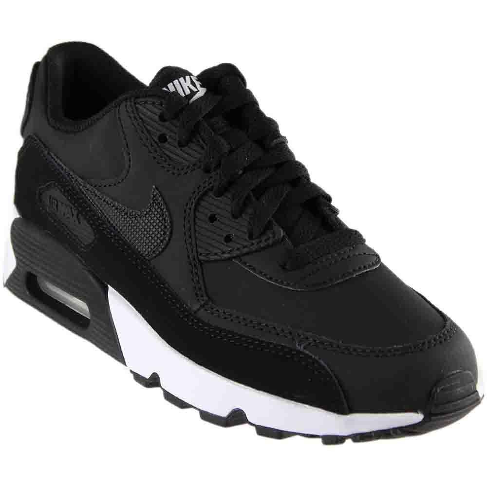 Nike Boy's Air Max 90 Leather (GS) Shoe Black/Black-White 7Y