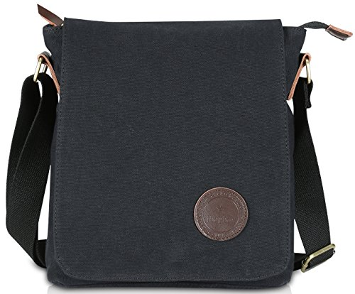 Ibagbar Small Vintage Cotton Canvas Messenger Bag Ipad Bag Shoulder Satchel Crossbody Bag Hiking Traveling Bag for Men and Women Black by Ibagbar