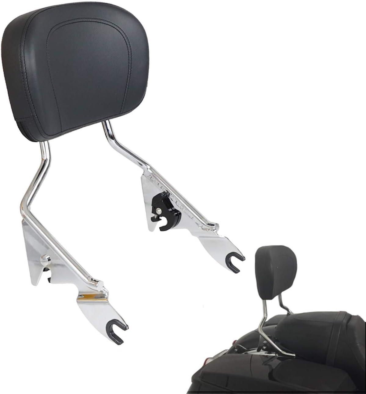 AUFER Detachable Backrest Sissy Bar Upright Passenger Backrest w//Pad For Touring Road King Street Glide Electra Glide Road Glide FLHR FLHX FLHT FLTR 1997-2008(Black)