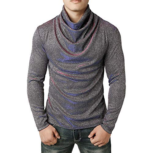 (QBQCBB Fashion Men Cowl Neck Blouse Long Sleeve Fit Pullover Solid Turtleneck Shirt(Gray,M))