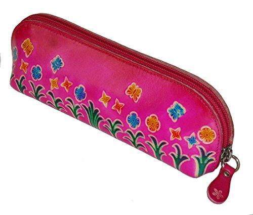 Case Butterflies Eyeglass (Genuine Leather Cosmetics Bag,Eyeglass/pencil Case,Butterflies & Flowers Pattern (Pink))