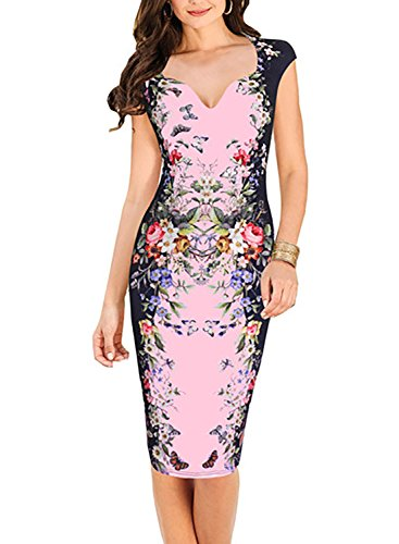 Oxiuly Women's Print Formal Work Sheath Cotton Party Evening Cocktail Dress X160 (XL, Pink)