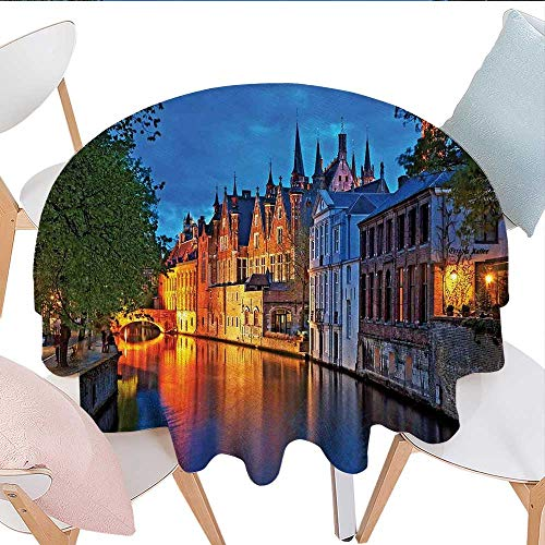 (Home-textile-print Medieval Customized Round Tablecloth Night Shot of Middle Age Building Along The River Bruges Heritage Old Town Photo Waterproof Circle Tablecloths D70 Multicolor)