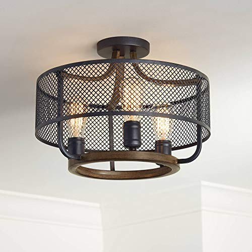 - Halvor Rustic Farmhouse Ceiling Light Semi Flush Mount Fixture Black Mesh Wood 16