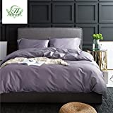 Purple Duvet Cover LifeTB ON SALE 3 Piece Bedding Duvet Cover King Size Solid Purple Grey Cotton Luxury Bedding Sets with Buttons for Boys Girls Soft and Warm Modern Duvet Comforter Cover