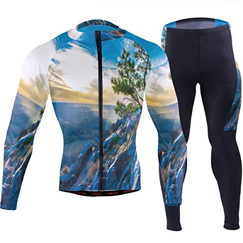 (Arkansas Wilderness Twilight Men's Cycling Jersey Set Breathable Quick-Dry MTB Road Bike Luxury Black)