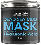 Dead Sea Mud Mask Infused With Hyaluronic Acid, 8oz — Exfoliate, Cleanse And Detoxify Your Skin | Reduces Pores, Breakouts and Wrinkles | Repairs Signs of Aging Naturally by Buena Skin