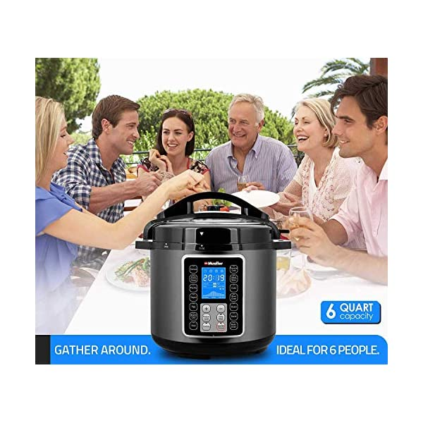 Mueller 6 Quart Pressure Cooker 10 in 1, Cook 2 Dishes at Once, Tempered Glass Lid incl, Saute, Slow Cooker, Rice Cooker, Yogurt Maker and Much More 4