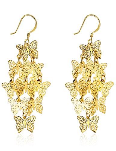 XZP Butterfly Chandelier Earrings Dangle 925 Silver Hook Filigree Drop Earrings for Women