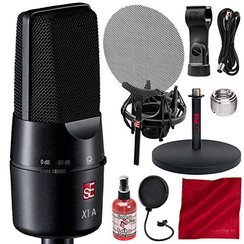 sE Electronics X1 A Large Diaphragm Cardioid Condenser Microphone with 20 dB Attenuation Pad and Isolation Pack Platinum Accessory Bundle