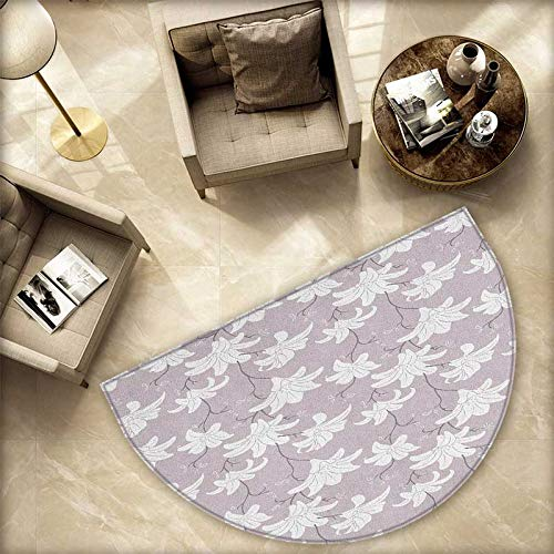Floral Semicircle Doormat Ornate Floral Design with Pale Color Doodle Style Leaves and Petals Romantic Halfmoon doormats H 70.8