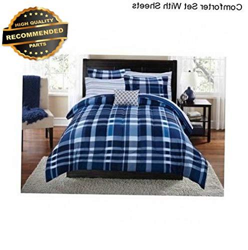 Gatton Premium New Blue Plaid Full Size Comforter Set Bedding Bedspread Sheets Pillow Case Sham | Style Collection Comforter-311012873