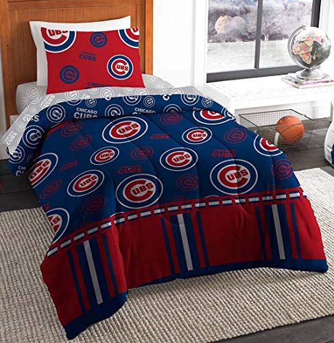 Northwest Chicago Cubs Comforter Bedding Twin 5 Piece Set Includes Cubs Pillow