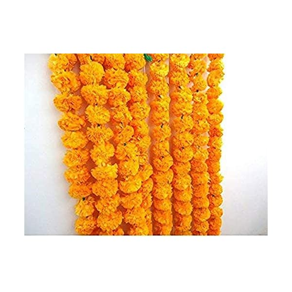 Nexxa 5 Pack Artificial Orange Marigold Flower Garlands 5 ft Long- for use in Parties, Celebrations, Indian Weddings, Indian Themed Event, Decorations, House Warming, Photo Prop, Diwali, Ganesh Fest