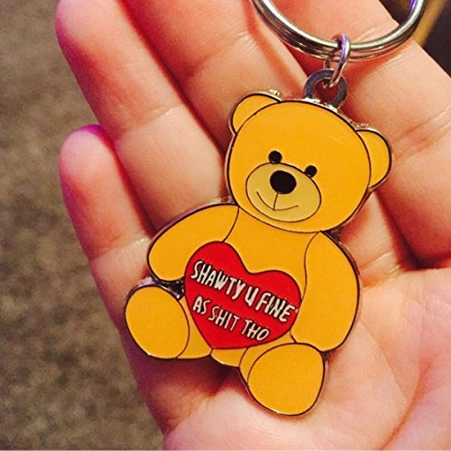 Hollabears Keychain Shawty U Fine As Shit Tho - Teddy Bear Miniature Key Chain