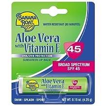 New! Banana Boat Aloe Vera with Vitamin E Sunscreen Lip Balm, SPF 45 0.15 oz (Pack of 2)