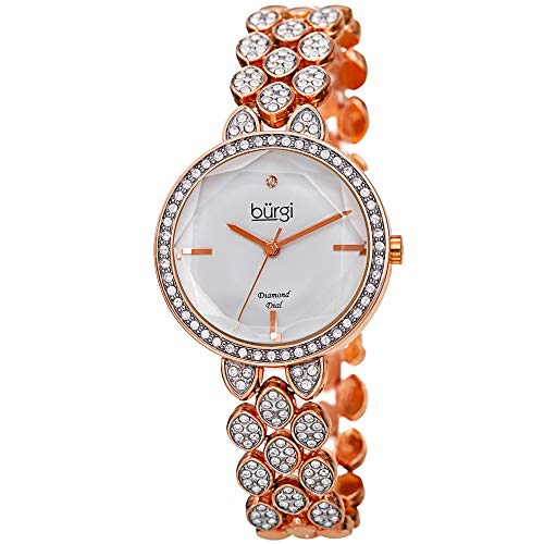 Burgi Designer Women's Watch - Swarovski Crystal Studded Case and Strap with Diamond Marker - Rose Gold Tone Stainless Steel Bracelet - BUR232RG