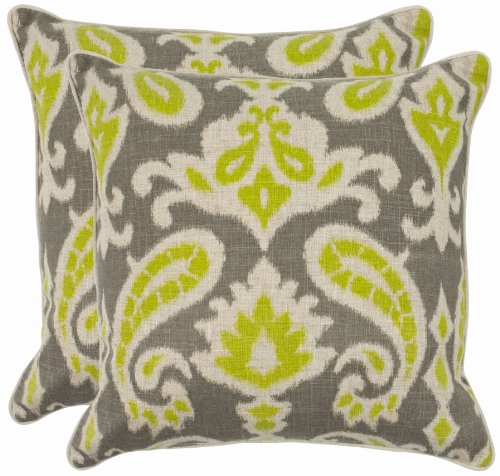 Safavieh Pillow Collection 18-Inch Paisley Pillow, Grey and Lime Green, Set of 2 (Pillows Paisley Grey)
