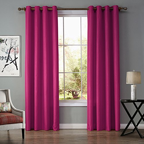 JackLook Solid Color Blackout Grommet Curtains Room Darkening Drapes 2 Panels 55