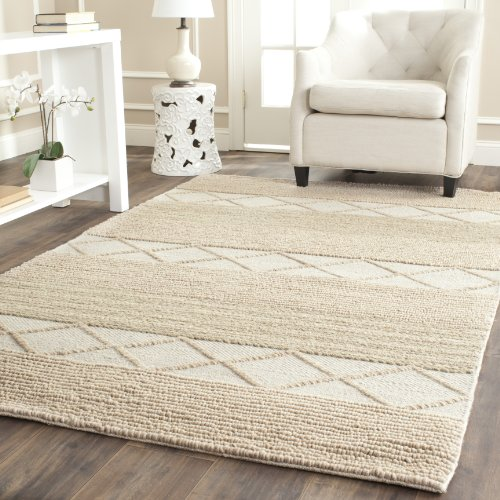 Safavieh Natura Collection NAT217A Handmade Beige Wool Area Rug, 8 feet by 10 feet (8′ x 10′)
