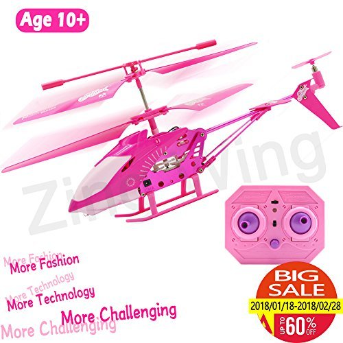 irl Gift Pink Mini Remote Control Helicopter Toy for Kids Girls, Indoor Flying Toys RC 3.5 Channel Gyro Helicopter Airplane ()