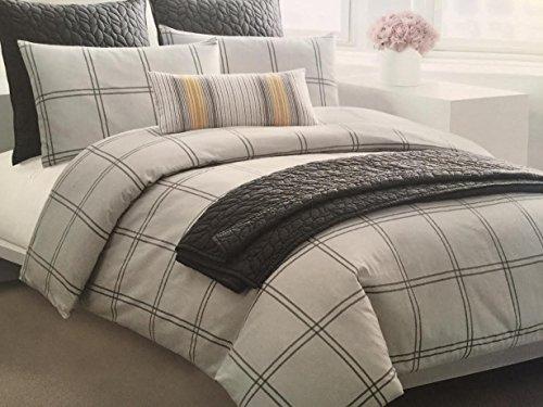 Dkny Classic Grey Plaid 100 Cotton Flannel Duvet Cover 3p
