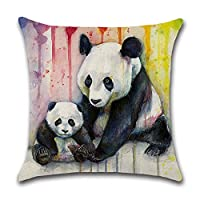 GATELEE Rainbow Animals Pillow Covers Square Cotton Linen Cushion Throw Pillow Cases For Home Sofa Decorative 18''x18''