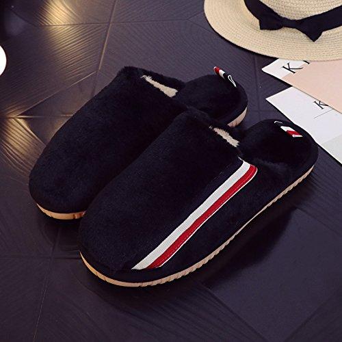 Hiver Fankou Coton Pantoufles Femme Chaude Douce Couverture Antidérapante Maison Paire De Belles Chaussures Pantoufles De Coton, 44/45,) 2 - Noir