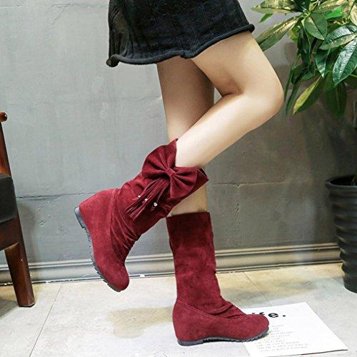 Amiley Fashion Women Boots Bowknot Tassel Warm Mid Calf Boots Winter Boots Shoes Wine Red Xa5EercxC