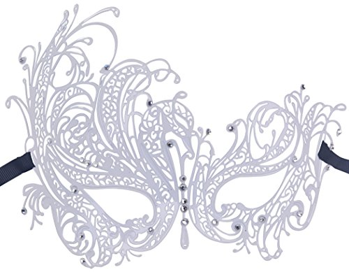 [Fancy Masquerade Mask Swan Metal Venetian Party Mask with Rhinestones] (Swan Halloween Costumes)