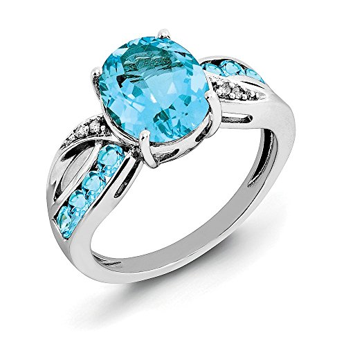 Sterling Silver Diamond and Swiss Blue Topaz Engagement Ring Size 8 by Diamond2Deal