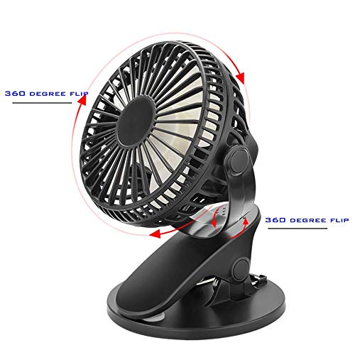 USB Fan, Jancal 360°USB Clip On Mini Desk Fan, 2 in 1 Application Portable Table Small Fan, USB Desktop Fan Powered by PC Netbook for Home Office Dorm Room- Black
