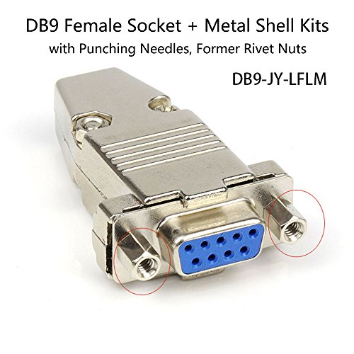 (DB9 Female Socket Metal Shell Kit with Punching Needles Former Rivet Nuts RS232 9 Pin Serial Connector RS485 RS422 COM Adapters)