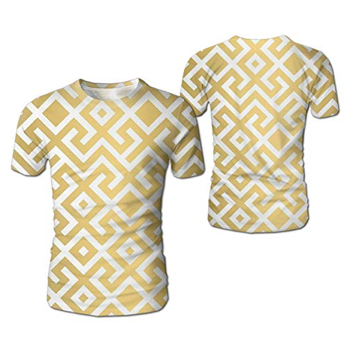 MrDecor Men's Tees Unisex Geometric Gold Bars 3D Printing T-Shirt Hipster Clothing