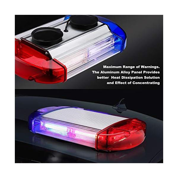 126 Luz Azul & rojo LED estroboscópica intermitentes para emergencia peligro advertencia vehículos de construcción luz minibar luz de advertencia luminosa con base magnética 3