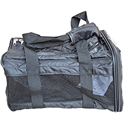 Black Luxury Pet Carrier For Travel Airline Approved Wearable Over Shoulder Or Carried With Top And Side Openings, Mesh Sides and Washable Mat