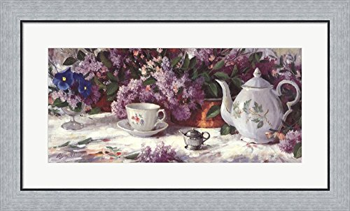Teapot and Lilacs by Richard W. Boyer Framed Art Print Wall Picture, Flat Silver Frame, 31 x 19 inches