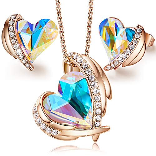 CDE Love Heart Necklaces and Earrings Jewelry Set for Women Rhodium Plated/Rose Gold Tone Crystals Birthstone Gifts for… 1