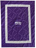 NEW! TCU Horned Frogs Embroidered Quilt - Blanket 48'' x 62'' - Purple & White