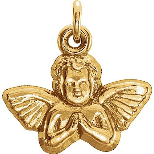 (14K Yellow Gold 11x12mm Angel Baby Pendant)