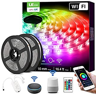 Alexa Smart LED Strip Lights, 32.8ft RGB Color Changing LED Light Strip Works with Alexa and Google Home, App, Remote, Voice Controlled SMD 5050 LED Tape Light for Bedroom, Home, Kitchen, TV and Party
