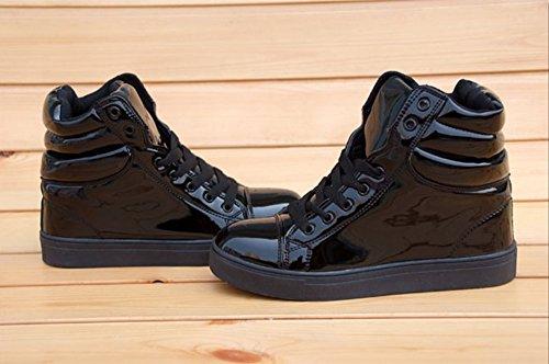 (ホーマイ)HOOMAI スニーカー レディース メンズ 男女兼用 大きいサイズ インヒール ハイカット 厚底 靴紐 pu エナメル パステルカラー