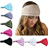 DRESHOW 8 Pieces Women Fashion Lace Elastic Head Wrap Turban Head Band Hair Accessories