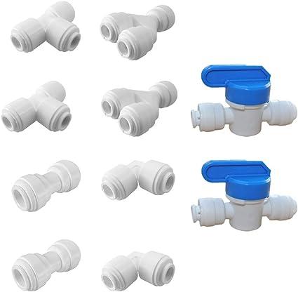"""Diámetro exterior 5 un Tubo Válvula de bola montaje de conexión rápida 1//4/"""" Sistema de Agua Ro Casa De Plástico"""
