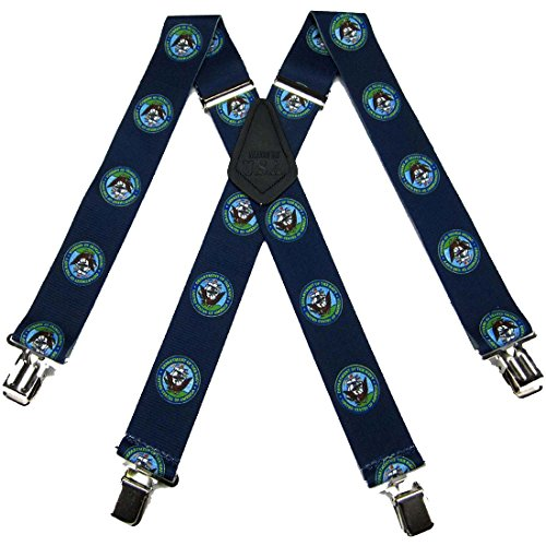 SUS-351-NANA - Navy Novelty Themed Clip X-BACK Suspenders by Buy Your Ties