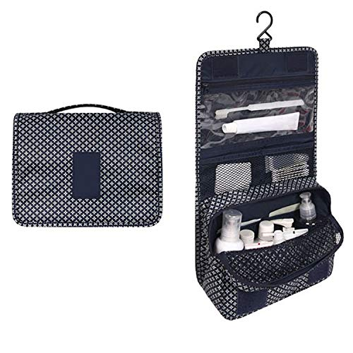 Women portable travel cosmetic bag hanging washing makeup organizer daily supplies,Dark Blue Stars ()