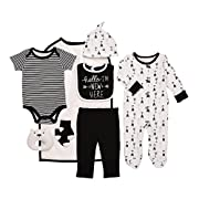 Baby Starters 9-Piece Hello I'm New Here Layette Set Black/White 3-6 Months