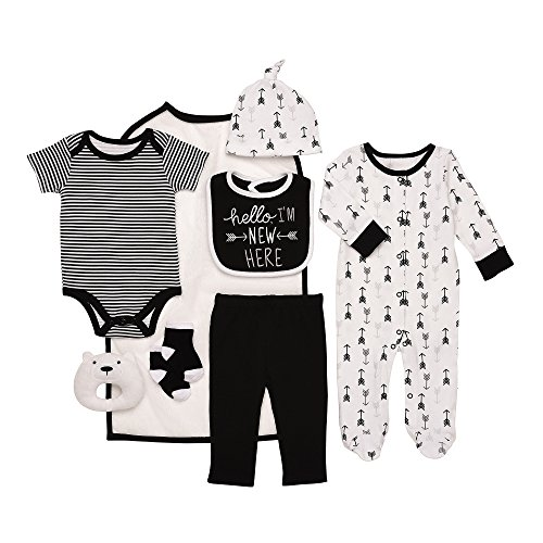 Layette Infant (Baby Starters 9-Piece Hello I'm New Here Layette Set Black/White 3-6 Months)
