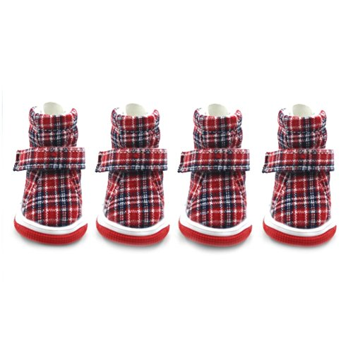 Stock Show Pet Dog Puppy Snow Booties Boots British Style Plaid Dog Shoes Lightweight Breathable Warm Soft Paw Protectors with Rugged Anti-Slip Sole 4Pcs, Red