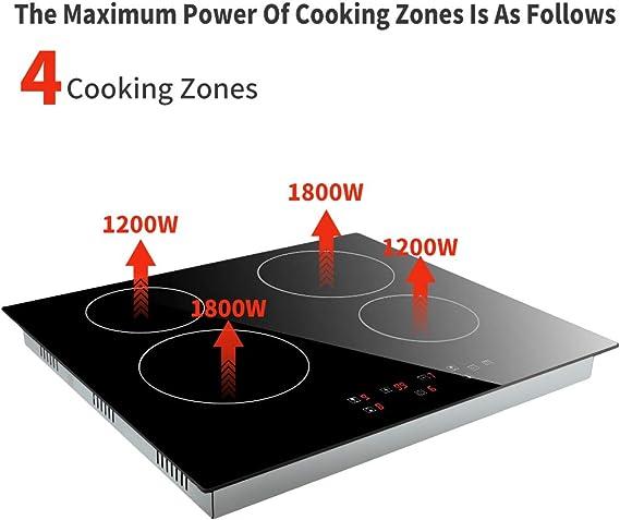 Cocina de inducción 6000W, Cocina eléctrica integrada de 4 Fuegos con Control táctil del Sensor, Negro: Amazon.es: Grandes electrodomésticos